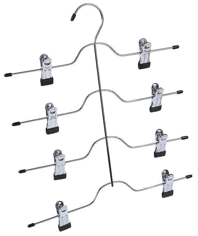 Amazon.com: Gancho de 4 niveles con clips para colgar faldas ...
