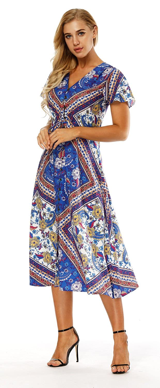 Women's Clothing Women Summer Long Maxi Dress Off Shoulder Floral Party Loose Long Dress Sleeveless Beach Sundress Quality And Quantity Assured