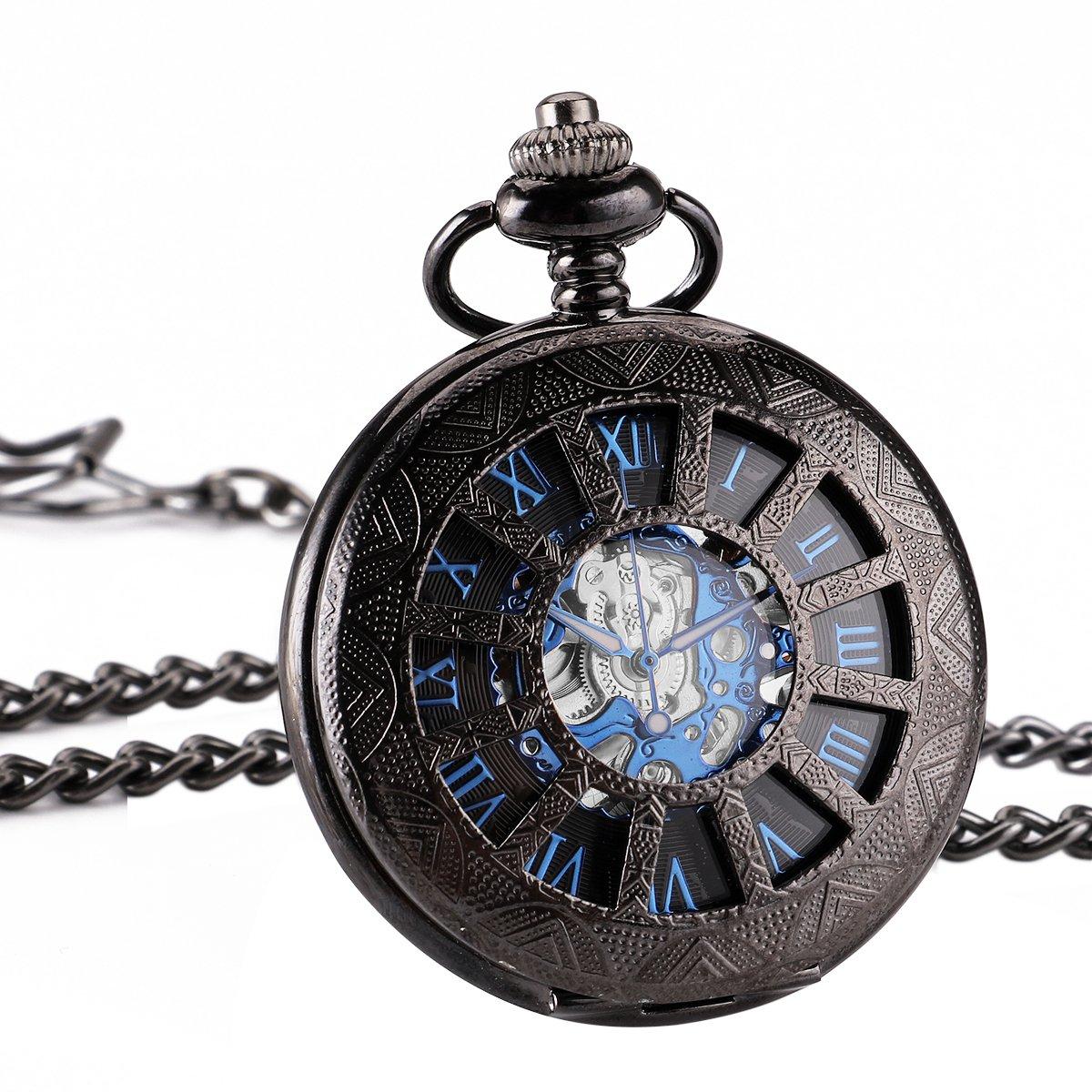 WENSHIDA Antique Half Hunter Mens Black Retro Blue Roman Numerals Dial Mechanical Pocket Watch Skeleton