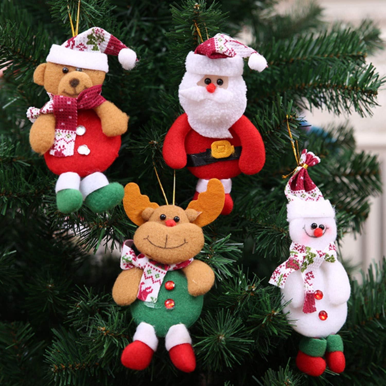 AMENON Christmas Plush Ornaments Set 8 Pack Christmas Tree Plush Hanging Ornaments Decorations Santa//Snowman//Elk//Bear Ornaments for Christmas Tree Pendant Festive Season Holiday Party Decor