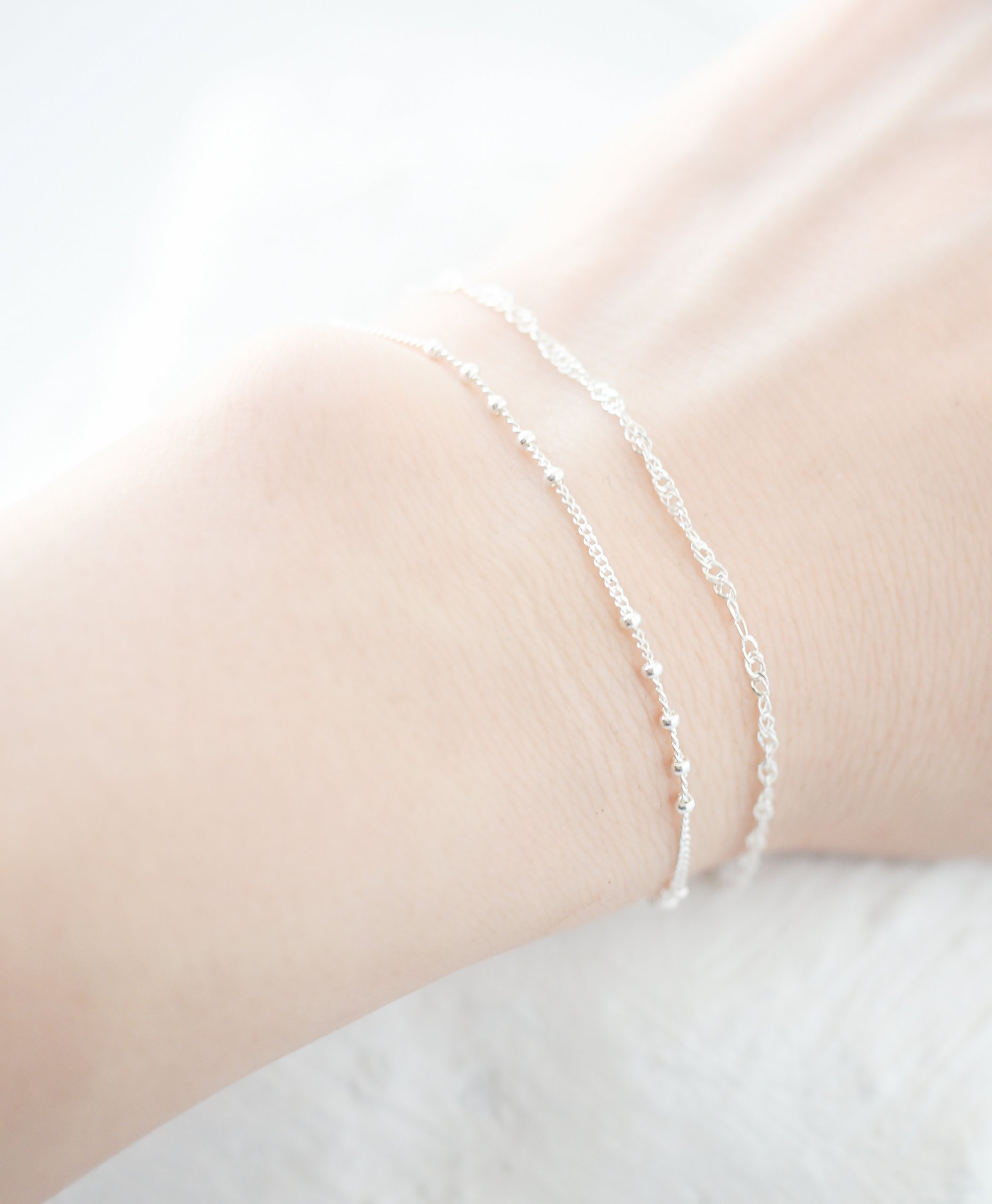 Sterling Silver 925 Set of Two Dainty Chain Bracelets, 5 1/2 ~ 7 inches