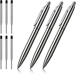 ChaoQ Ballpoint Pen, 3 Pcs Retractable Metal Ballpoint Pens, for Gift, Business, Office, 1.0mm Medium Point Black Ink, 6 Extras Replaceable Metal Refills, (3 Pens and 6 Refills) - Stainess Steel