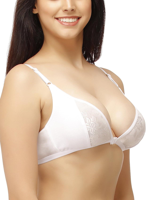 955fa2d25 Clovia Women s Cotton Rich Non-Padded Front Open Plunge Bra  Amazon.in   Clothing   Accessories