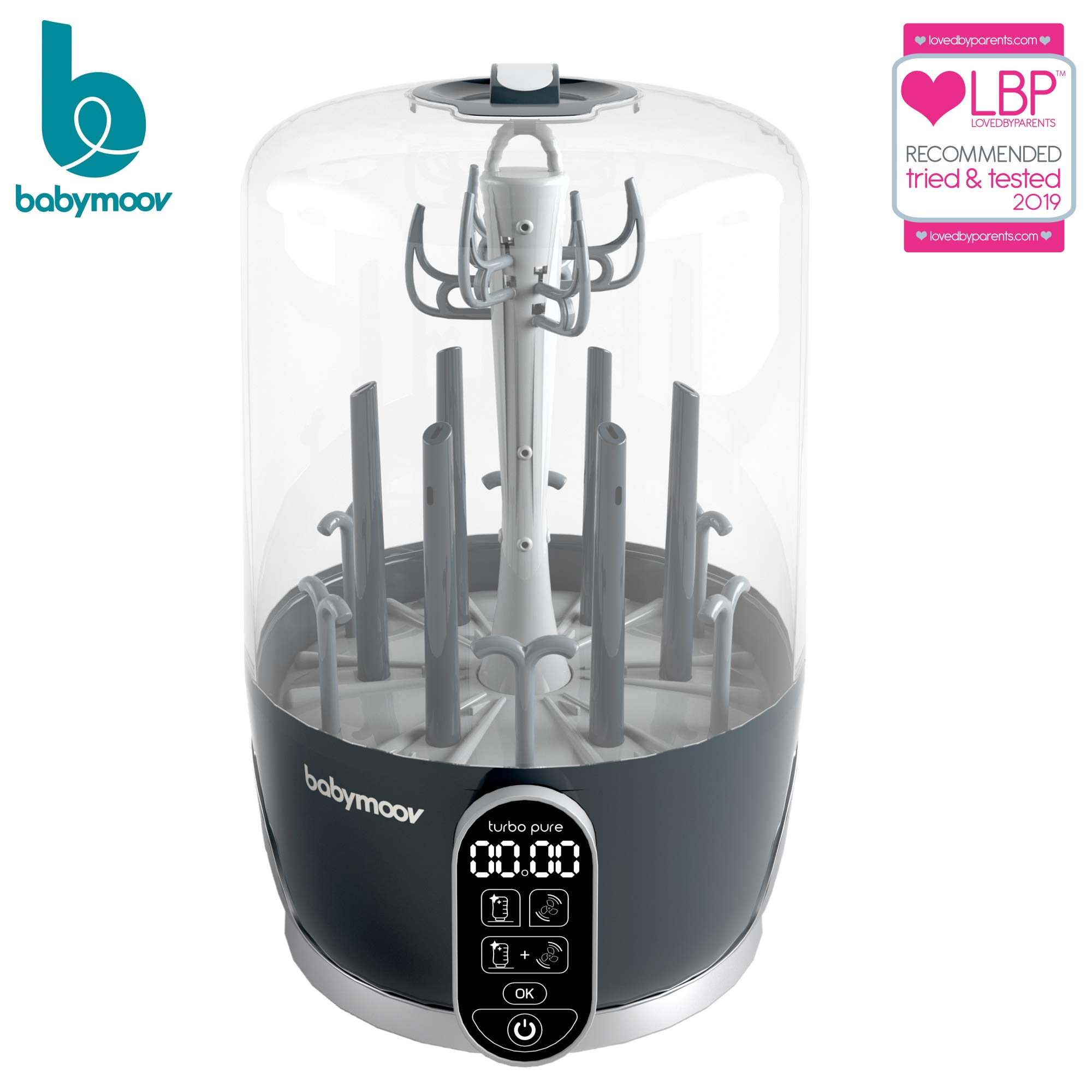 Babymoov Turbo Pure Sterilizer Dryer | Patented Purified Sterilization, Fast & Clean Drying, Bottle Storage and Easy Use (ELIMINATES 99.9% of Bacteria) by Babymoov