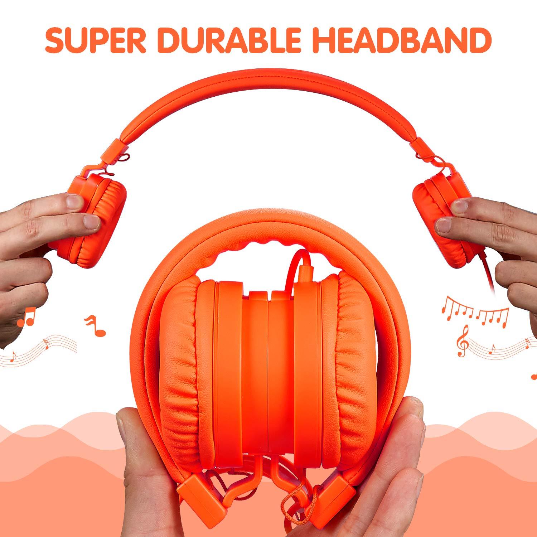 ONTA gorsun Foldable On Ear Audio Adjustable Lightweight Headphone for chlidren Cellphones Smartphones iPhone Laptop Computer Mp3/4 Earphones (Orange) by ONTA (Image #6)