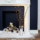 Bouquet Lumineux Décoratif 5 Branches Naturelles de Saule - 50 LED Éclairage Blanc Chaud - 90cm (Brun)