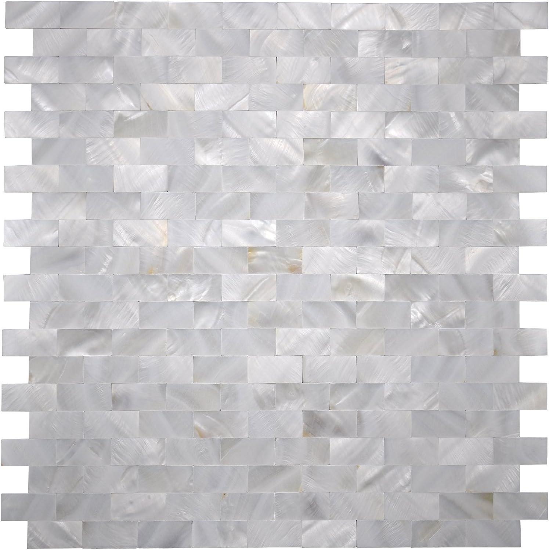 "Art3d Mother of Pearl Shell Mosaic Tile for Kitchen Backsplash/Shower Wall Tile, 12"" x 12"" Groutless Subway"