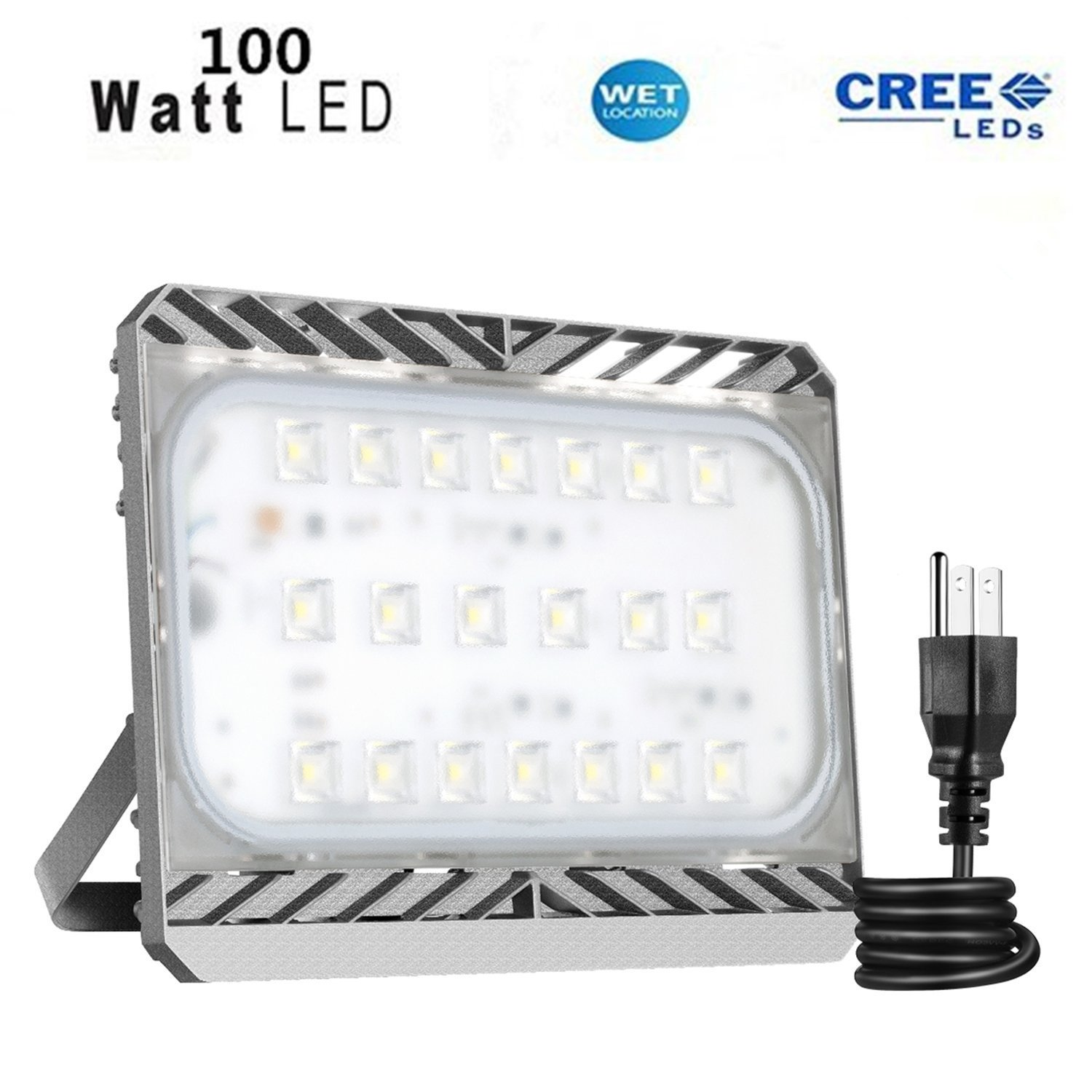 LED Flood Light with Plug, 100W Outdoor Lighting Waterproof Security Light, Super Bright CREE LED Chips,9000LM 3000K Warm White,Adjustable Wall Mount Exterior Light Fixture for Yard Street Parking Lot