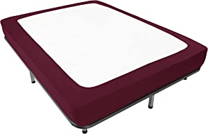 Box Spring Cover Queen Size - Jersey Knit & Stretchy Wrap Around 4 Sides Bed Skirt for Hotel & Home - Queen/Cal Queen, Burgundy