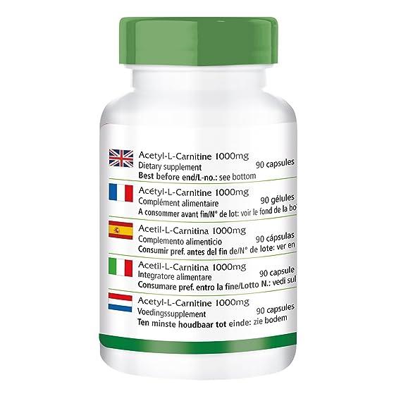 Acetil-L-carnitina 1000 mg - GRANEL durante 3 meses - VEGAN - ALTA DOSIS - 90 cápsulas - ALC: Amazon.es: Salud y cuidado personal