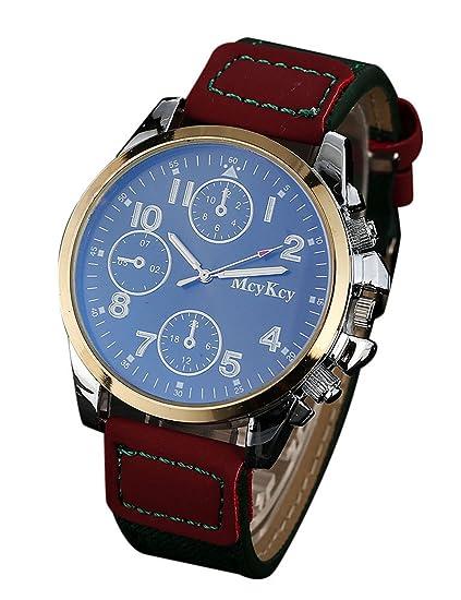 Para hombre reloj de pulsera, poto 2017 ry-205 1pcs Hombres Hombres Piel hebilla Militar analógico cuarzo reloj de pulsera: Amazon.es: Relojes