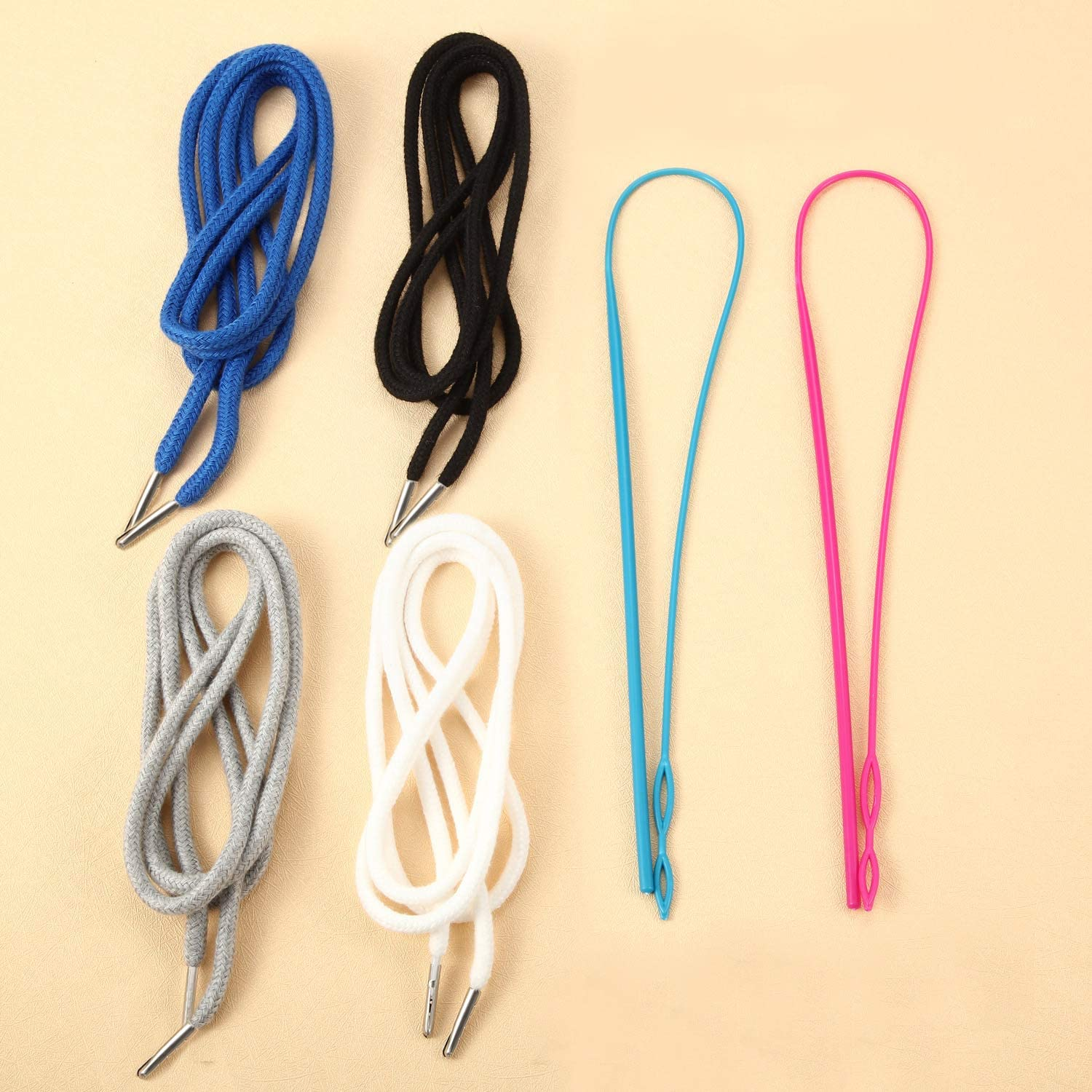 8 Pieces Replacement Drawstrings Universal Drawstrings with 2 Pieces Flexible Drawstring Threader Easy Drawstring Threader for Sweatpants Shorts Hoodies Pants
