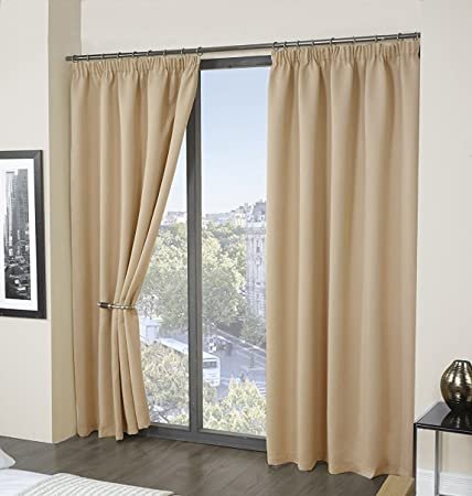 RAYYAN LINEN Thermal Pencil Pleat Blackout Tape Top Pair Of Curtains Ready Made With Free Tiebacks