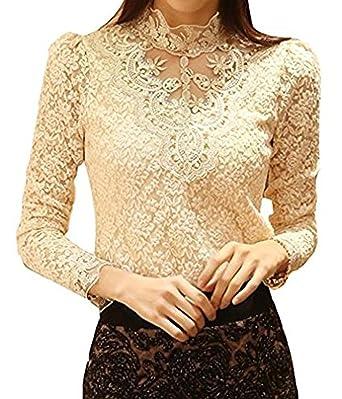 Minetom Mujer Elegante Blusa Cordón Blusa Tops con Diamante De Imitación Camisas OL 2 Colores: Amazon.es: Ropa y accesorios