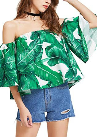 d9b99fca87b Amazon.com: Tropical Green Palm Leaf Print Tops Women Sexy Off Shoulder  Casual Loose Shirt Blouses: Clothing