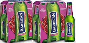 Barbican Pomegranate Flavor Malt Beverage Non Alcoholic Drink - 2 Pack of 6 Glass Bottles each 330ml