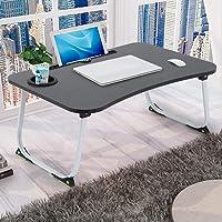 Mesa portátil grande plegable para laptop, para servir el desayuno, mesa portátil con ranuras para teléfono/tableta para…