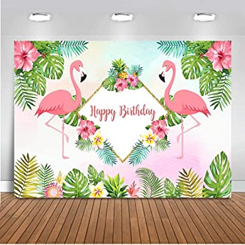 FHZON 7x5ft Flamingo Backdrop Green Tropical Plant Leaves Party Photography Background Kid Child Theme Party Wallpaper Photo Booth Prop MBLLFH34
