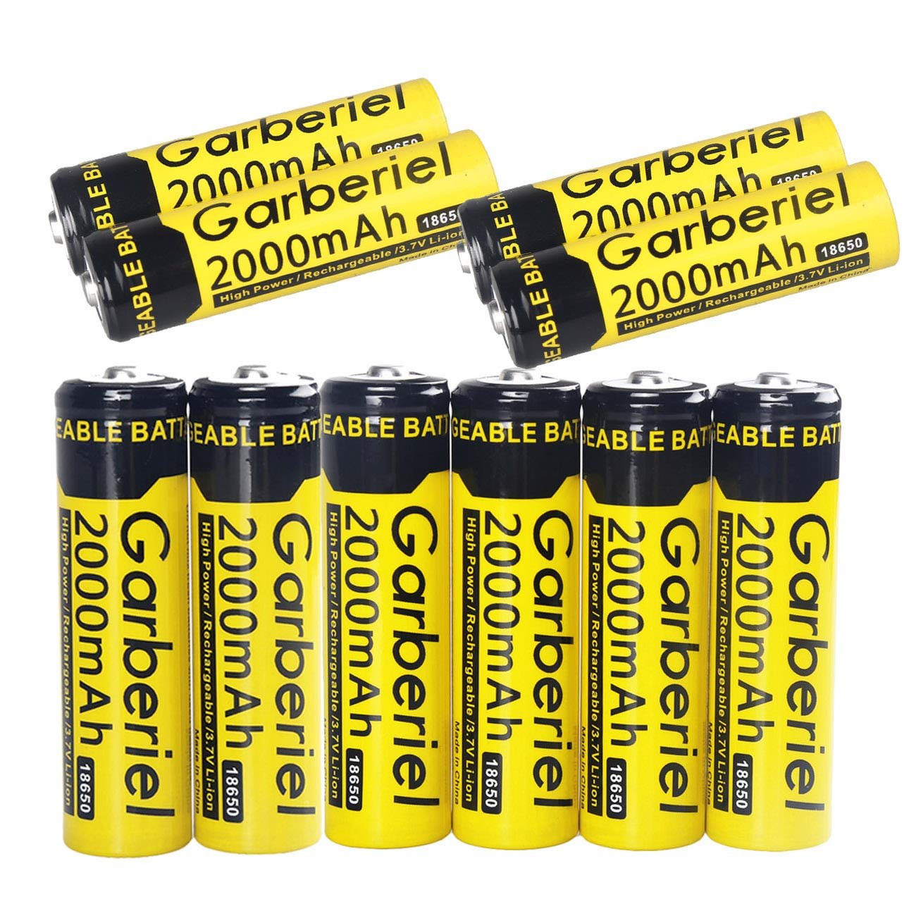 Garberiel 10 Pack 2000 mAh 3.7V 18650 Rechargeable Battery Li-ion Batteries for Outdoor LED Flashlight Headlamp, Button Top