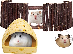 SAWMONG Flexible Wood Hideout, Hamster Rat Natural Apple Sticks Door Fence, Hamster Small Animal Bed Hideout House for Hamster, Mouse, Gerbil