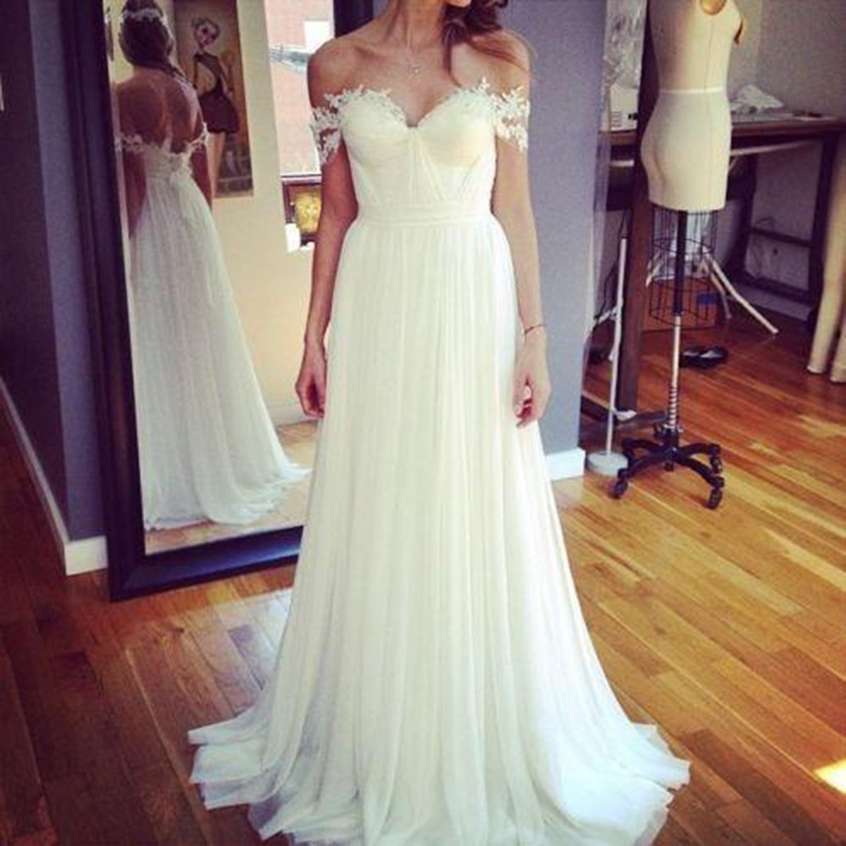 Udresses Chiffon Lace Vestidos de Novia 2017 Beach Bridal Wedding Dresses DR3 at Amazon Womens Clothing store: