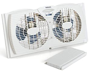 Window Fans Holmes Twin Reversible Dual Blade Exhaust Adjustable Portable Fans, Slim design allows for use with screen in place