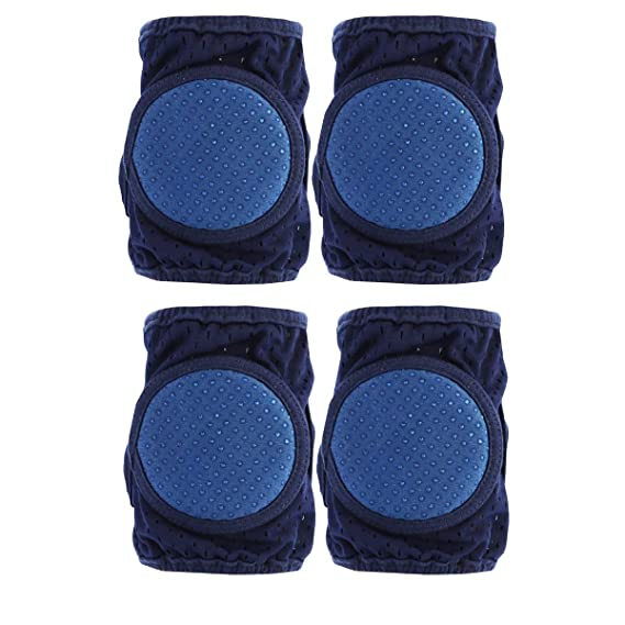 Blue 2 Pairs Baby Crawling Anti-Slip Knee Pads Breathable Anti-skid Baby Kneepads Children Short Kneepads Crawling Safety Protective Cover for Unisex Baby Toddlers