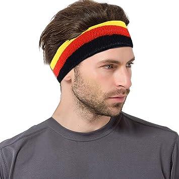 VerteLife Sport Stirnband Damen Herren Schwei/ßb/änder Kopf Stirn Baumwolle Frottee Elastische Kopfband Feuchtigkeit Wicking Headband Haarband f/ür Laufen Fahrrad Joggen Tennis Fu/ßball