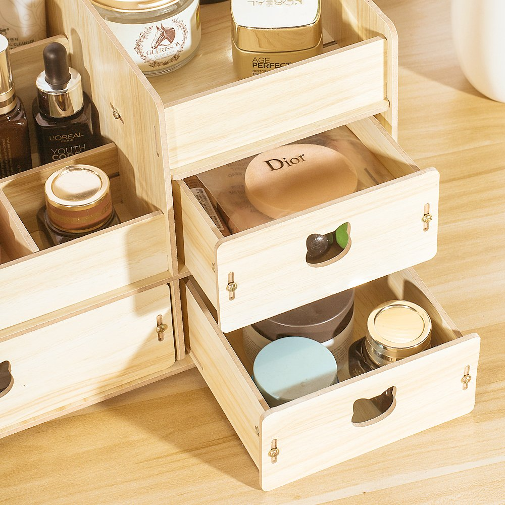 New Wood Cosmetic Organizer DIY Assembly Wooden Pink Makeup Organizer Drawers Factory Jewelry Bo Walnut