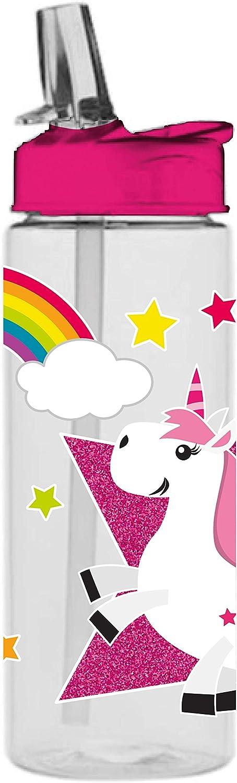 infinite by GEDA LABELS (INFKH) - Botella de plástico Tritan, diseño de unicornio, multicolor, plástico, multicolor, 7,5 x 7,5 x 21 cm