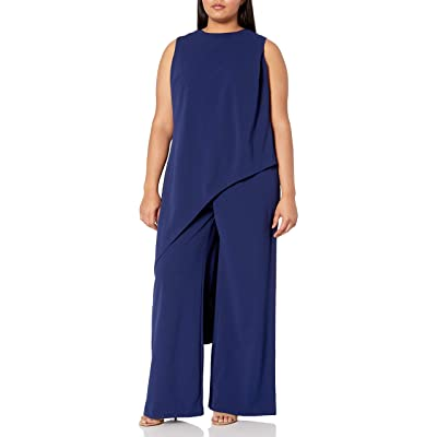 Adrianna Papell Women's Size Plus Knit Crepe Asymmetrical Jumpsuit: Clothing