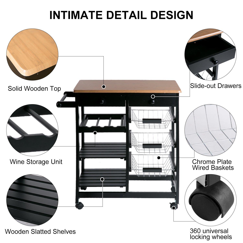 Merax WF036471BAA 26'' Portable Storage Island Kitchen Trolley Drawers, Microwave Cart, Black by Merax (Image #5)