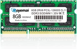 8GB DDR3L-1600 Sodimm, ROYEMAI PC3/PC3L-12800S DDR3 2RX8 204pin 1.35V/1.5V CL11 RAM Memory Module for Intel AMD and Mac System Laptop