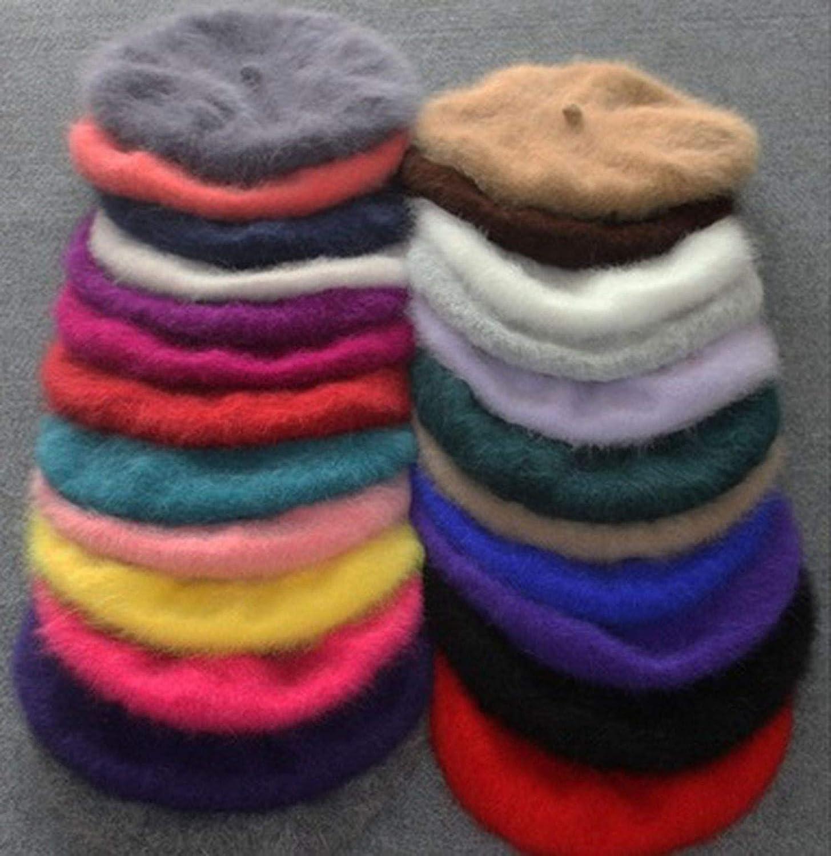 Women Plush Mink Cashmere Beret Ladies Hand Knitting Hats Winter Warm Knitting Cap