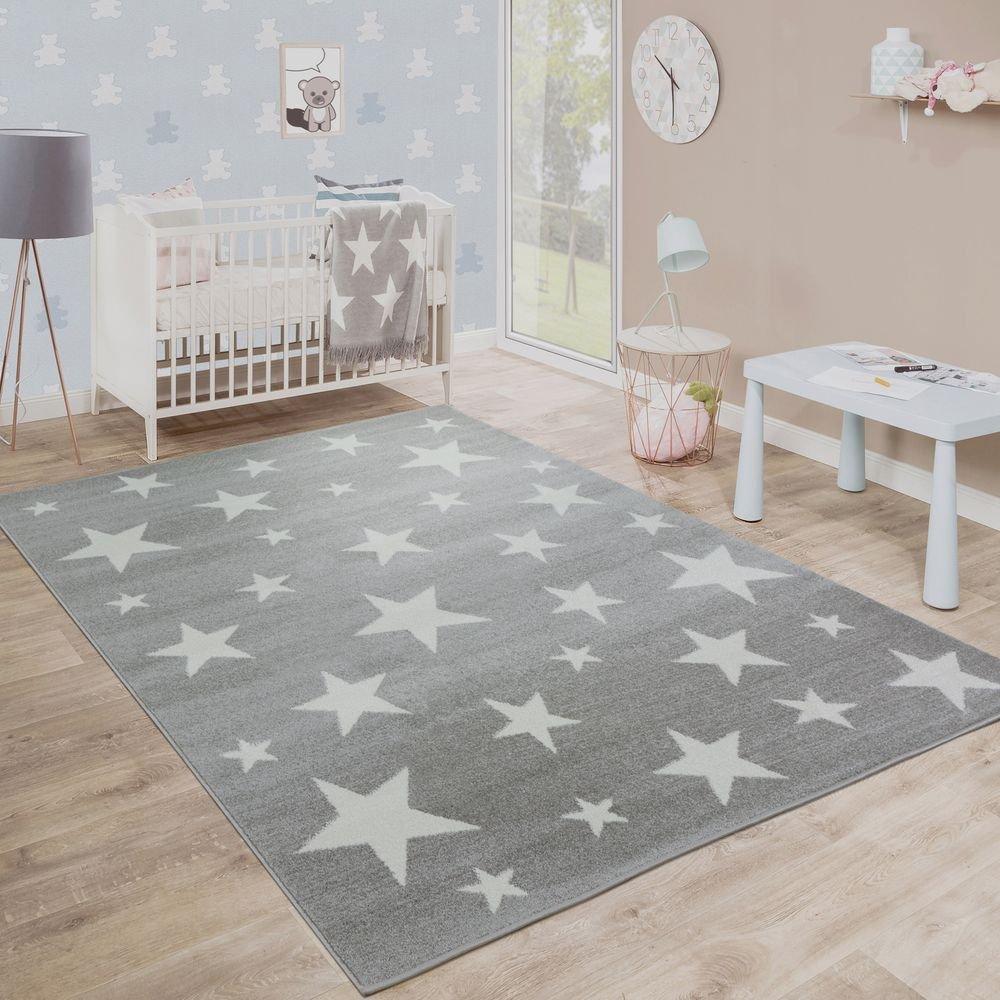 Paco Home Moderner Kurzflor Kinderteppich Sternendesign Kinderzimmer Star Muster Grau Weiß, Grösse:160x220 cm