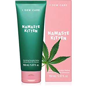 I DEW CARE Namaste Kitten Face Wash | Clarifying Cannabis Sativa Hemp Seed Oil Facial Cleanser | Korean Skincare, Vegan, Cruelty-free, Paraben-free