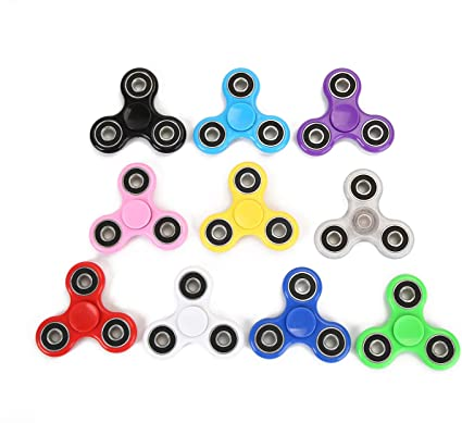 FIDGET SPINNER SPINNERS STAR 3 PACK BLACK RED YELLOW STRESS ANXIETY