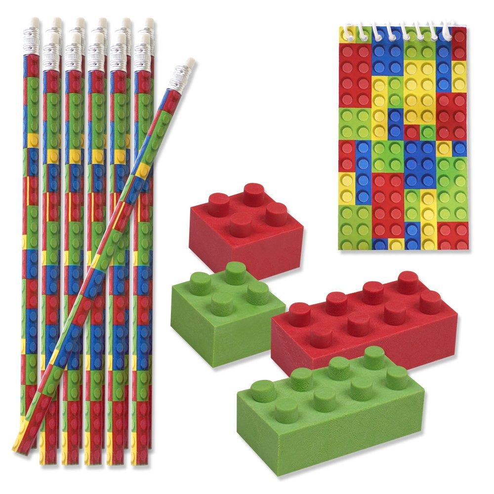 48 Bulk Pack Colorful Building Block Brick Party Favor Supplies Theme Decorations 12 Pencils 12 Mini Notepads 24 Erasers Kids Girls Boys Teens Children Birthday Carnival Teacher Classroom Rewards