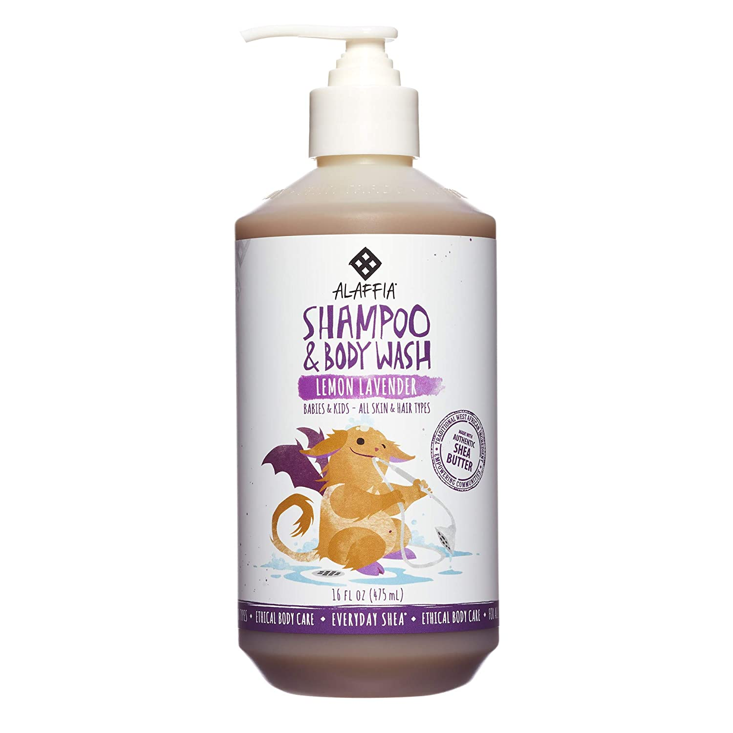 Alaffia - Everyday Shea Shampoo and Body Wash, Babies and Kids, Gentle and Calming Support for Soft Hair and Skin with Shea Butter, Neem, and Coconut Oil, Fair Trade, Lemon Lavender, 16 Ounces B004URU37Y