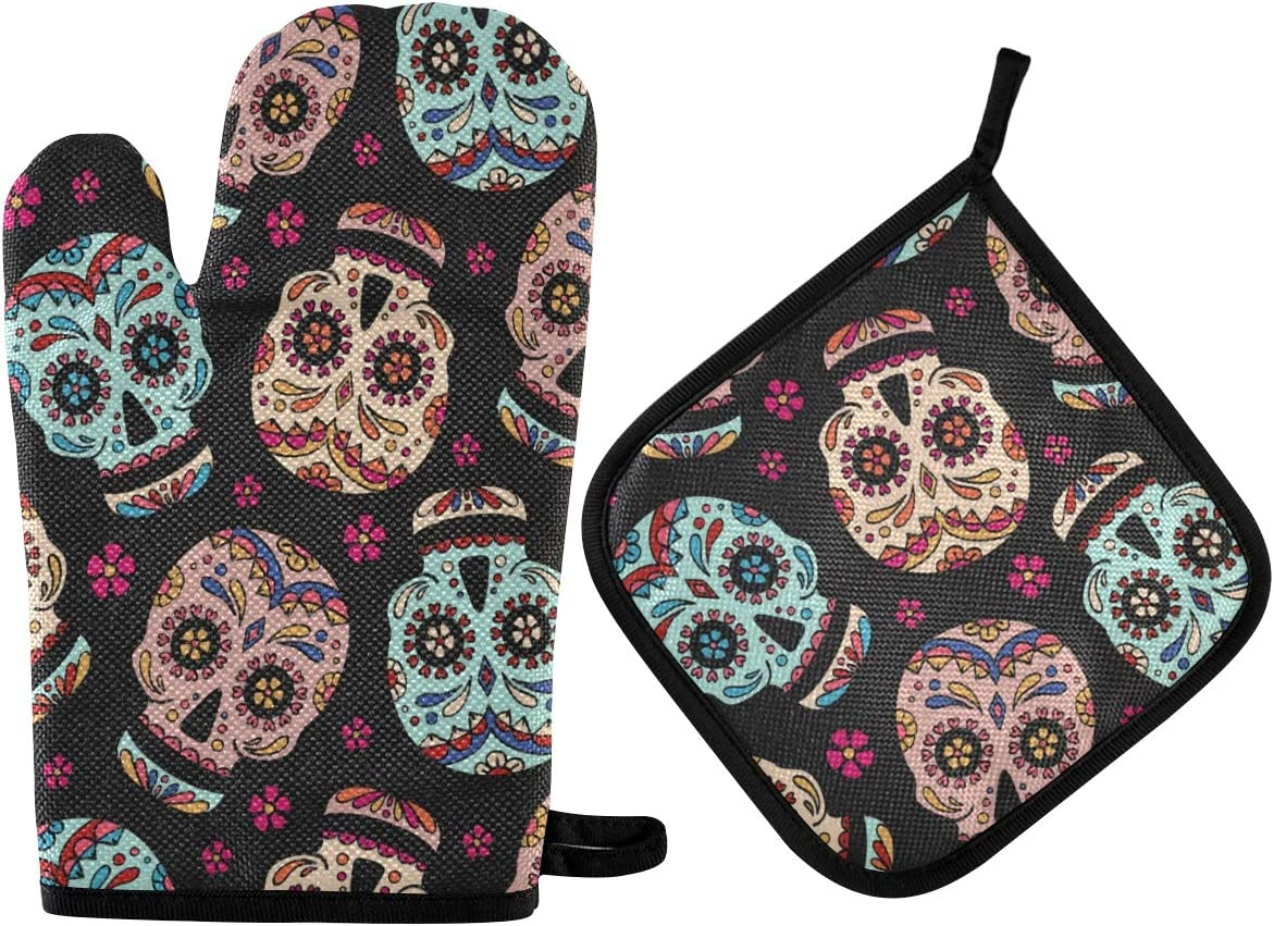 Oven Mitts Pot Holders Sets - Dead Day Dia Muertos Halloween Mexican Skull Oven Mitt Set Hot Pads Non-Slip Cooking Gloves Heat Resistant Potholder for Baking, Grilling