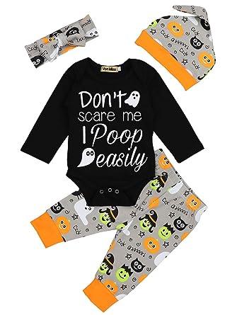 53fcfe4513f Von kilizo Baby Boy Girl My First Halloween Outfit Letter Print Bodysuit  Pumpkin Pants 4Pcs Clothes