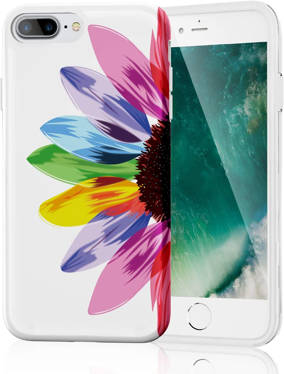 iPhone 8 Plus Case, iPhone 7 Plus Case for Girls, Stylish Clear Slim Fit Glossy TPU Soft Rubber Silicone Cover Phone Case for iPhone 7 Plus/iPhone 8 Plus Seven Color Rainbow Flower