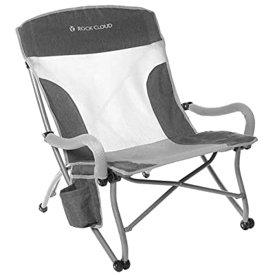 Rock Cloud Portable Folding Camping Chair Low Beach Chair for Camp Lawn Hiking Sports Hunting, Grey: Kitchen & Dining
