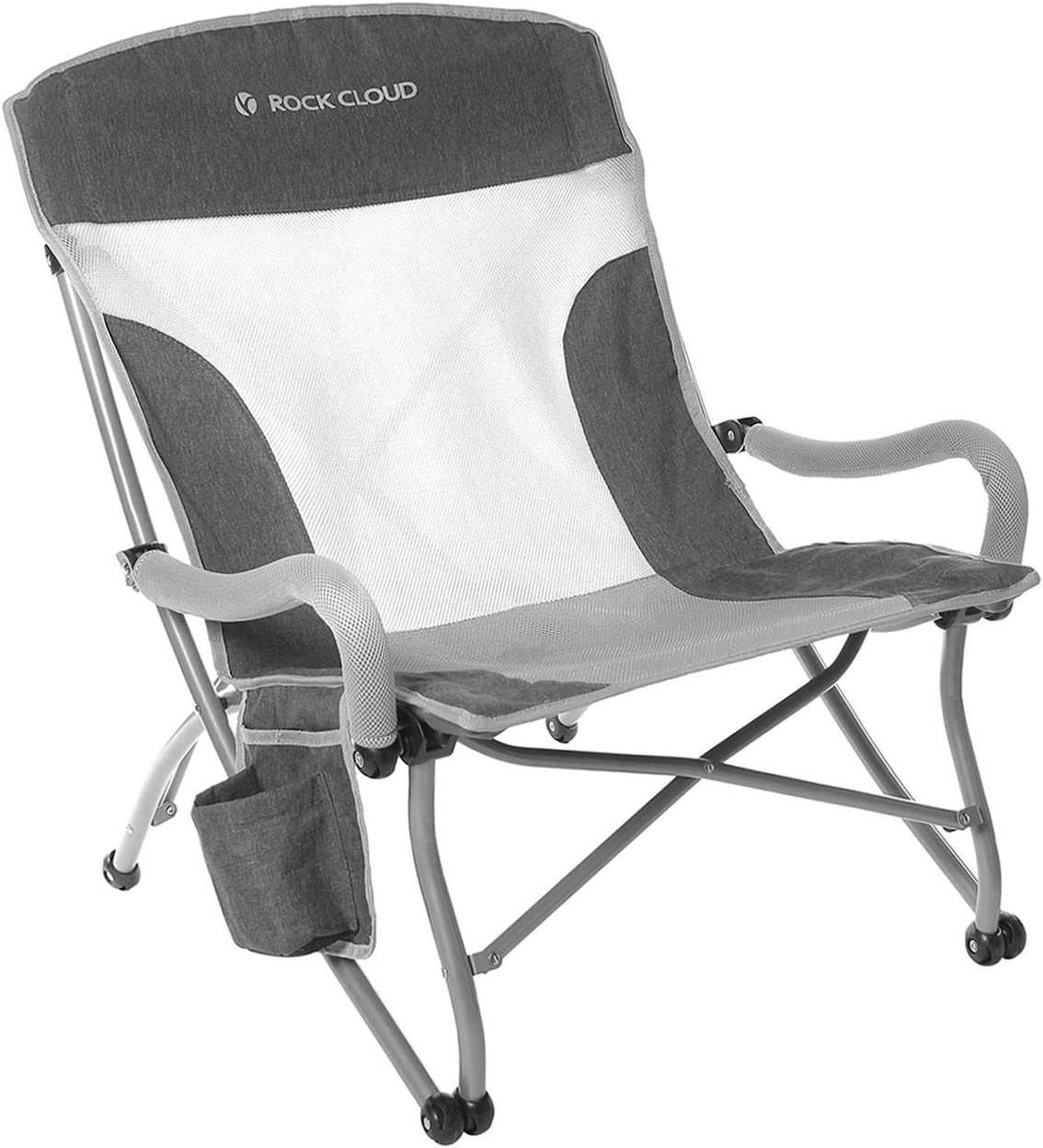 Rock Cloud Portable Folding Camping Chair Low Beach Chair for Camp Lawn Hiking Sports Hunting, Grey