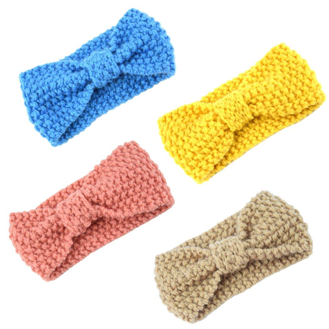 Baby Headband, Fascigirl 4Pcs Baby Girl Headband Bow Wool Knitting Turban Headbands for Baby Newborn Toddlers 809EROC14932OI01