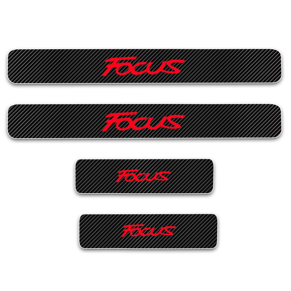 for Ford Focus Door Sill Protector Reflective 4D Carbon Fiber Sticker Door Entry Guard Door Sill Scuff Plate Stickers Auto Accessories 4Pcs Red SLONG