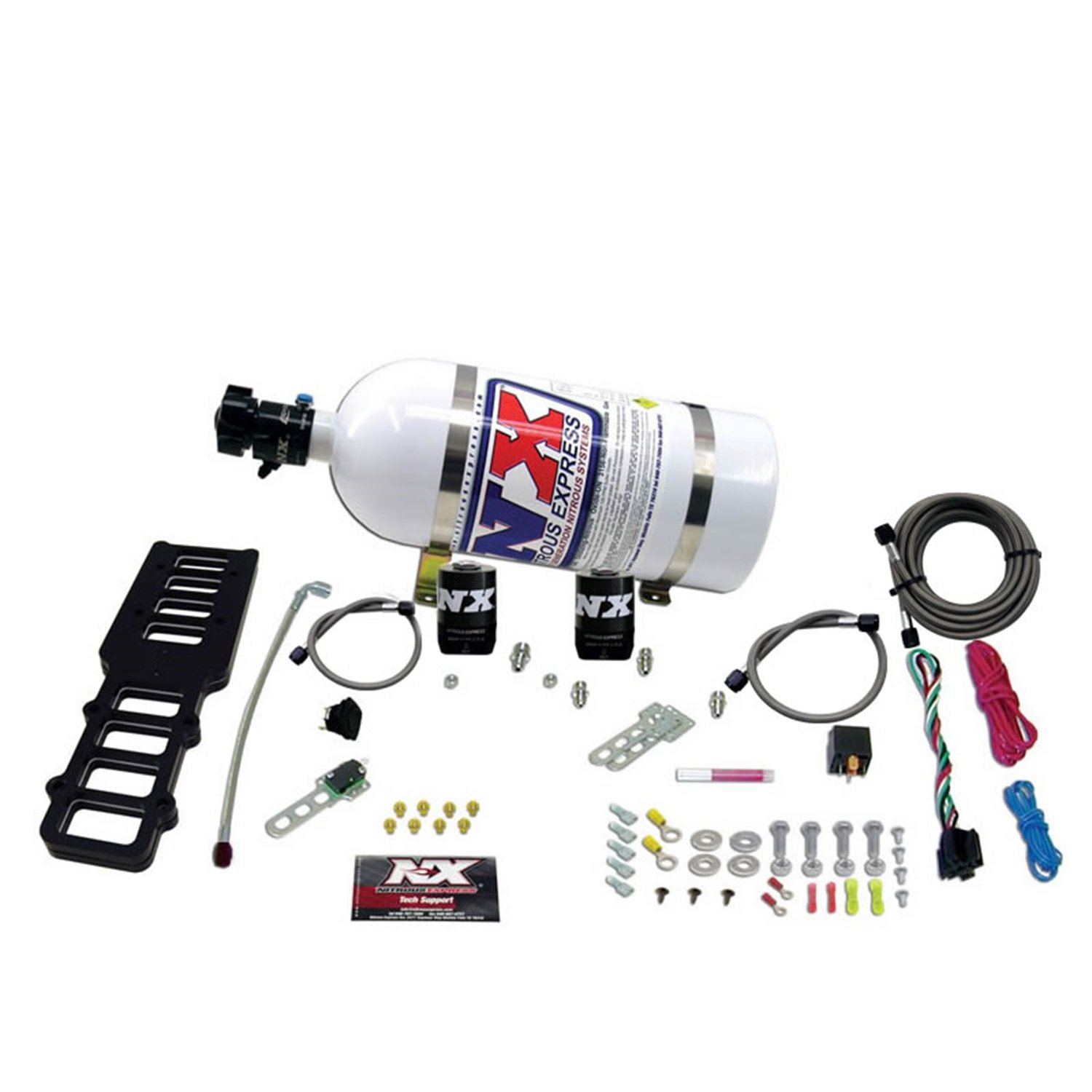 Nitrous Express 20103-10 Edelbrock Victor Plate with 10 lbs. Bottle for Ford 5.0L