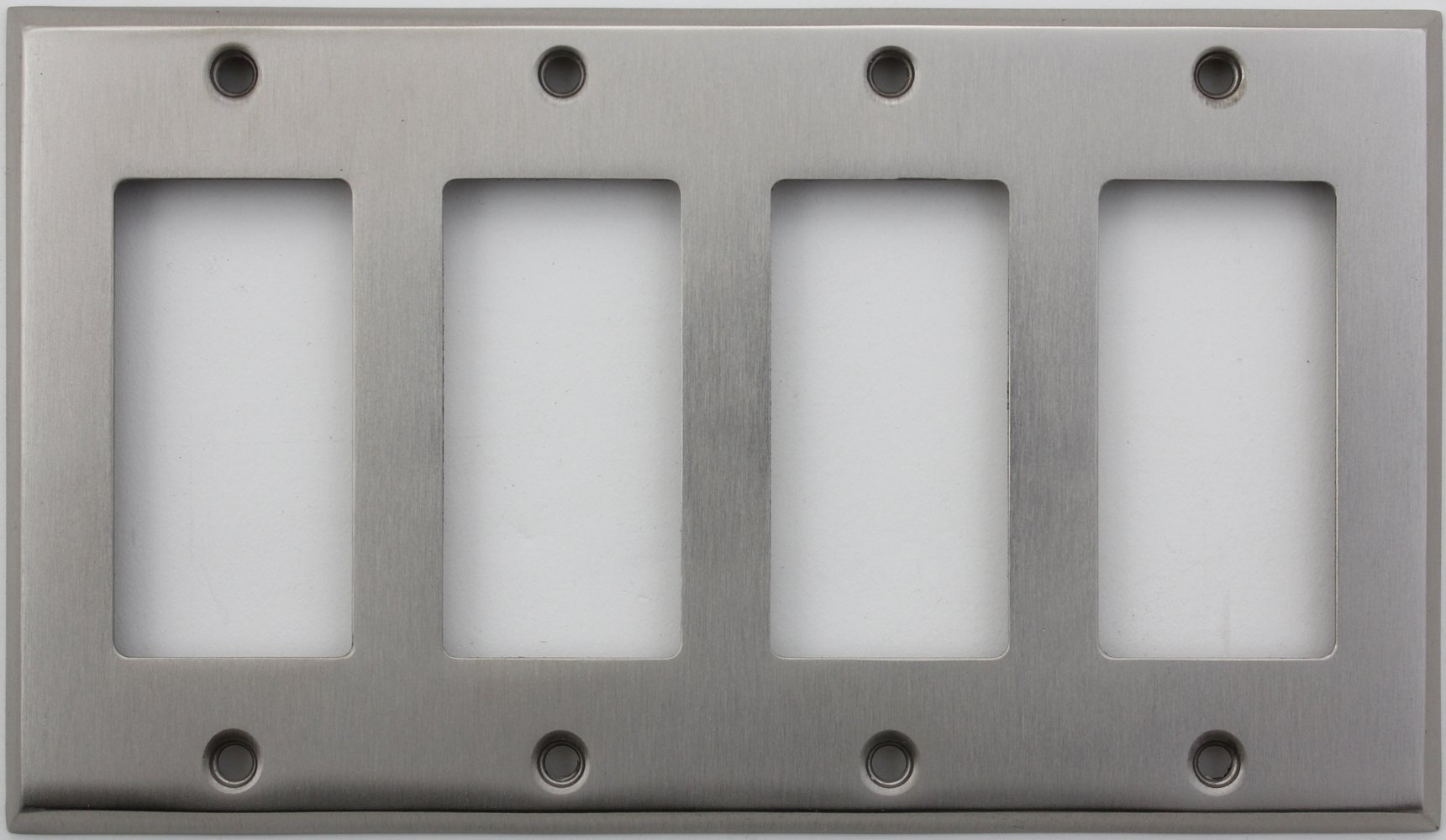 Classic Accents Stamped Steel Satin Nickel Four Gang GFI/Rocker Openings Wall Plate