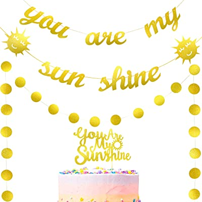 3 Pieces You are My Sunshine Banner Sun Banner Glitter Sunshine Cake Toppers Gold Circle Garland for Baby Shower Sunshine Theme Party: Toys & Games