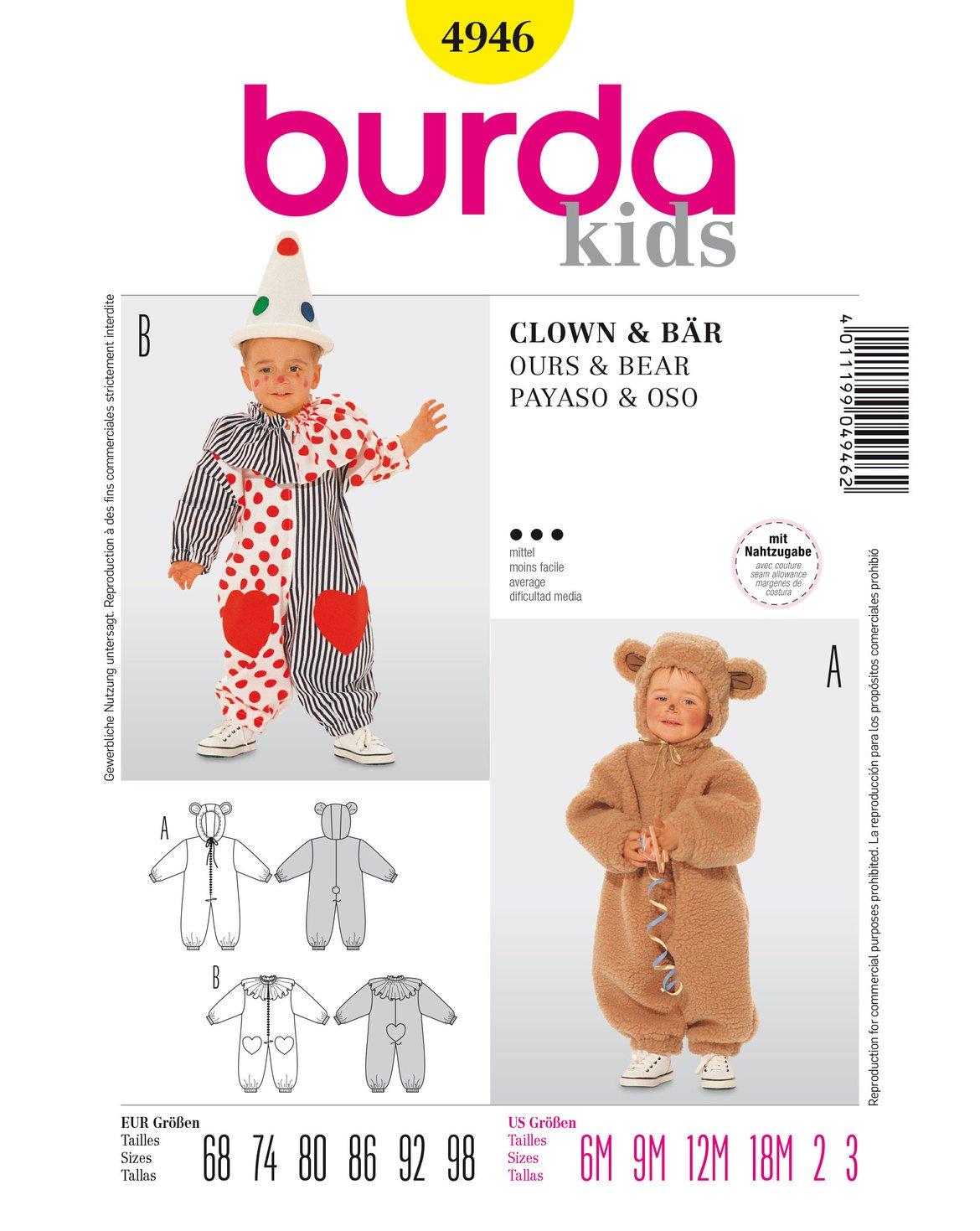 Patrón de costura burda 4946 Mono? Disfraz de oso y payaso: Amazon ...
